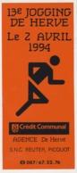 Herve 1994 Auto Collant Jogging + Crédit Communal - Atletismo