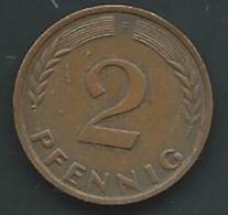 Allemagne 2 Pfennig 1960 F.   Laupi 12701 - 2 Pfennig