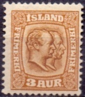 IJSLAND 1907-08 3aur Twee Koningen Bruingeel WM Kroon PF-MNH - 1873-1918 Dipendenza Danese