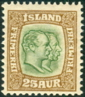 IJSLAND 1907-08 25aur Twee Koningen WM Kroon PF-MNH - 1873-1918 Dipendenza Danese
