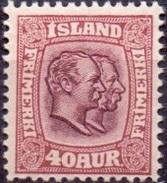 IJSLAND 1907-08 40aur Twee Koningen WM Kroon PF-MNH - 1873-1918 Dipendenza Danese