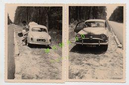 2 PHOTOS - VOITURE - SIMCA ARONDE EN PANNE SUR LE BAS COTE DE LA ROUTE - Automobiles