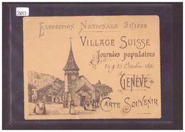FORMAT 10x15cm - GENEVE - CARTE SOUVENIR DE L'EXPOSITION NATIONALE SUISSE 1896 - ( PETITE FENTE ET PLI D'ANGLE ) - GE Genève