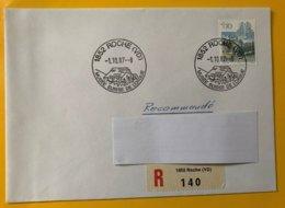 10215 - Oblitéraion Roche (VD) 1.10.1987 Musée Suiisse De L'Orgue Enveloppe Recommandé - Marcophilie