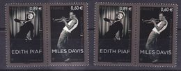 France 4671/4672  Variété Rideau Personnages Roses Et Normal Edith Piaf Miles Davis Neuf ** TB MNH Sin Charnela - Errors & Oddities