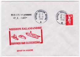 Pli Avec Cachet Illustré Rouge Du Groupe Aéronaval Adriatique Mission Salamandre, Cachets PR Var Et Départ En Mission - Marcophilie (Lettres)