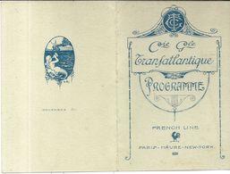 C. G .TRANSATLANTIQUE . PAQUEBOT LAFAYETTE . CONCERT . 1920 - Programme