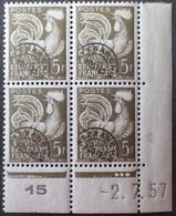 R1337/21 - 1957 - FRANCE - PREO - COQ GAULOIS - BLOC N°107 NEUF** CdF Daté (charnières Sur BdF) - Cote (2020) : 2,25 € - Hoekdatums