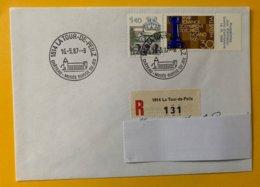 10219 -  Enveloppe Recommandé La Tour De Peilz  Musée Suisse Du Jeu 16.05.1987 - Marcophilie