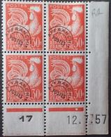 R1337/24 - 1957 - FRANCE - PREO - COQ GAULOIS - BLOC N°115 NEUF** CdF Daté (charnières Sur BdF) - Cote (2020) : 63,00 € - 1950-1959