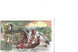 CHROMO    LES SPORTS  LA PECHE AU JAVELOT    INDIENS EN PIROGUE     LA   SCINTILLANT 6 AV FAIDHERBE   ASNIERES DEPT 92 - Altri