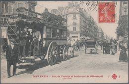 Tout Paris , Rue De Turbigo Et Boulevard De Sébastopol , Omnibus , Animée - Transport Urbain En Surface