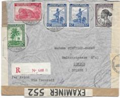 SH 0541. N° 234-256_261-264(2) JADOTVILLE 9.6.43 S/L. RECOM. V. ZÜRICH Via TACORADI. QUADRUPLE CENSURE. TB - Belgian Congo