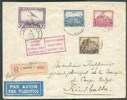 Lettre Affr. CHATEAUX + PA 5Fr. Obl. Sc BRUXELLES 5-XII-1930 En Recommandé Et P.A. (ETiq) Vers Kinshasa + Griffe 1ere LI - Luchtpost