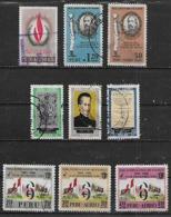 1968-9 Peru Derechos Humanos-dia Del Ejercito-Garcilazo De La Vega-feria Del Pacífico 9v. Variedades - Pérou