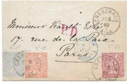 SH 0544. N° Mi 15-16-17 CREUZNACH 29.6.69 S/Carte De Visite - PD + Passage PRUSSE/FORBACH/4. TB - Norddeutscher Postbezirk (Confederazione Germ. Del Nord)