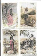 11642 - Lot De 4 CPA : Les Saisons, Femme Et Enfant - Women