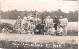Carte Photo Militaire Camp D'Avon 15e RA 3e Batterie Repas Autour Fourneau De Campagne - 1914-18