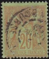 France  .    Yvert   .    96     .     O     .     Oblitéré   .   /  . Cancelled - 1876-1898 Sage (Type II)