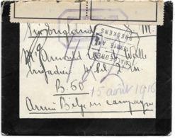 "SH 0545. Lettre DEUIL - De AARDENBURG Par AMBULANT MALDEGEM-BRESKENS 16.VIII.16 V. ABC - Bande ""Geopend...""+ ""Z"". TB - Army: Belgium"