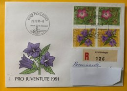 10238 -   Enveloppe Recommandé Nos 302 & 321 En Paires FDC 6742 Pollegio 26.11.1991 - Pro Juventute
