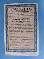 Bon De Garantie JAEGER Horloger De La Marine De L'Etat PARIS 1951 Fait à Nantes Horlogerie Suisse - Frankreich
