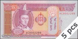 TWN - MONGOLIA 63b - 20 Tögrög 2002 DEALERS LOT X 5 - Prefix AC UNC - Mongolia