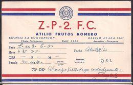 QSL ZP2FC Estancia La Concepción, Paraguay To LU2CN Antartida Argentina - 28/08/1966- Cygnus - Radio