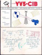 QSL YV5-CIB Caracas, Venezuela To LU1ZC Antartida Argentina - 18/11/1966- Cygnus - Radio
