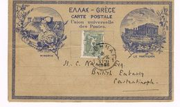 OLYMPIC 1896 PRIVATE POSTCARD HOTEL MINERVE ATHEN 13 MARCH 1898 - 1886-1901 Small Hermes Heads