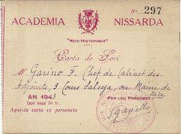 NICE . CARTE . ACADEMIA NISSARDA . 1943 - Historische Documenten