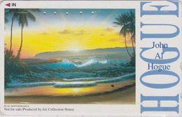 TC JAPON / 110-011 - PEINTURE USA - JOHN AL HOGUE - Sunset Beach Palm Tree - PAINTING JAPAN Phonecard - NFS 1887 - Malerei