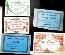 PEDAGOGIE ENSEIGNEMENT 5 BILLETS D'HONNEUR VERS 1900 - Diplomas Y Calificaciones Escolares
