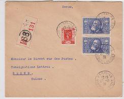 Frankreich 1936 R-Brief Mit MIF In Die Schweiz +AKs - Frankrijk