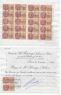 Reçu Du 5/4/1957 Maître PUISAYE à PARIS Avec 22 Timbres Fiscaux Pour Acte 4.259.000 Frs - Fiscaux