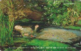TC JAPON / 110-016 - PEINTURE ANGLETERRE - JOHN EVERETT MILLAIS - OPHELIA - PAINTING JAPAN Phonecard / ENGLAND Rel  1892 - Peinture