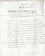 1806 - Ville De LYON à La Ville De GRENOBLE - Jeune Fille égarée Accueillie Par Les Sœurs Hospitalières De L'Antiquaille - Historical Documents