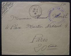 """1946 Bataillon De L'air 123 Orléans  Cachet Fleury Les Aydes, Vignette """" Renaître """" à L'arrière - Postmark Collection (Covers)"""