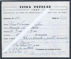 Raro Recibo Da Feira Popular De Lisboa Do Ano De 1957. Organização Do Cofre Da Previdência Do G. C. Lisboa. - Portugal