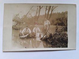 Carte Photo  Pêche Dans La Rivière  (la Marne) - A Identifier