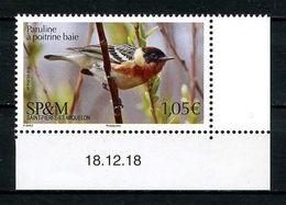 SPM Miquelon 2019 N° 1214 ** Neuf MNH Superbe Faune Oiseaux Birds Paruline à Poitrine Baie Animaux - St.Pierre & Miquelon