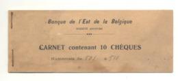 Banque De L'Est De La Belgique - Agence De Juslenville / Theux - Carnet De Chèques 1933 - Chèques & Chèques De Voyage