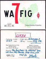 QSL WA7FIG Arizona, USA To LU1ZA Antartida Argentina - 31/10/1967 - Cygnus - Radio