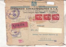 A3781 - 3 X 2£imperiale Su Espresso Per Estero CONSORZIO CINEMATOGRAFICO E.I.A. VG Roma-Parigi 1943 - Marcofilía