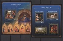 ST1871 2016 NIGER ART PAINTINGS RELIGIONS ART VINCI BOTTICELLI !!GOLD KB+BL MNH - Religione