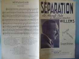 Partition Ancienne 3 Chansons Separation / Mensonge/ Au Pays Des Fleurs Willems Philippon - Partitions Musicales Anciennes