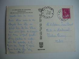 Brest A Quimper Cachet Ambulant Convoyeur Poste Ferroviaire Sur Carte - Postmark Collection (Covers)