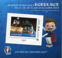 """Mini Collector De 2016 Avec Timbre Adhésif """"BORDEAUX - UEFA EURO 2016 - Europe Phil@poste"""" - France"""