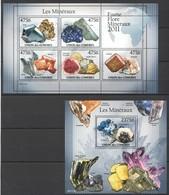 UC203 2011 UNION DES COMORES FAUNE FLORE MINERAUX LES MINERAUX 1KB+1BL MNH - Minerali