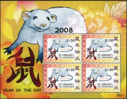 SAINT VINCENT AND THE GRENADINES 2008 Chinese New Year Of The Rat Rats Animals Fauna MNH - Otros